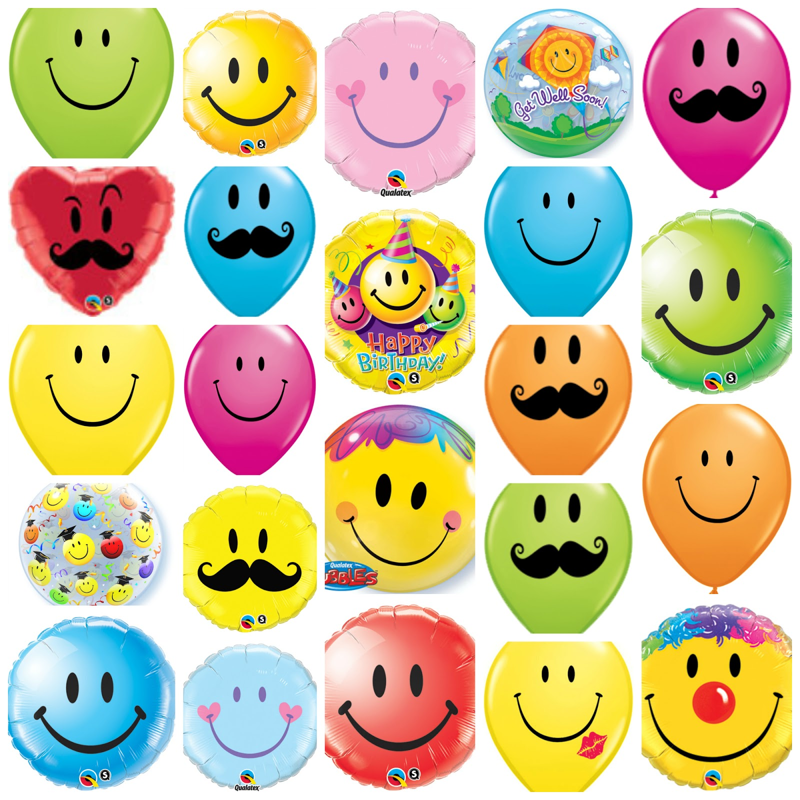 Funny balloon faces - A Few Of The Wonderful Smile Face Balloons In The Qualatex Range