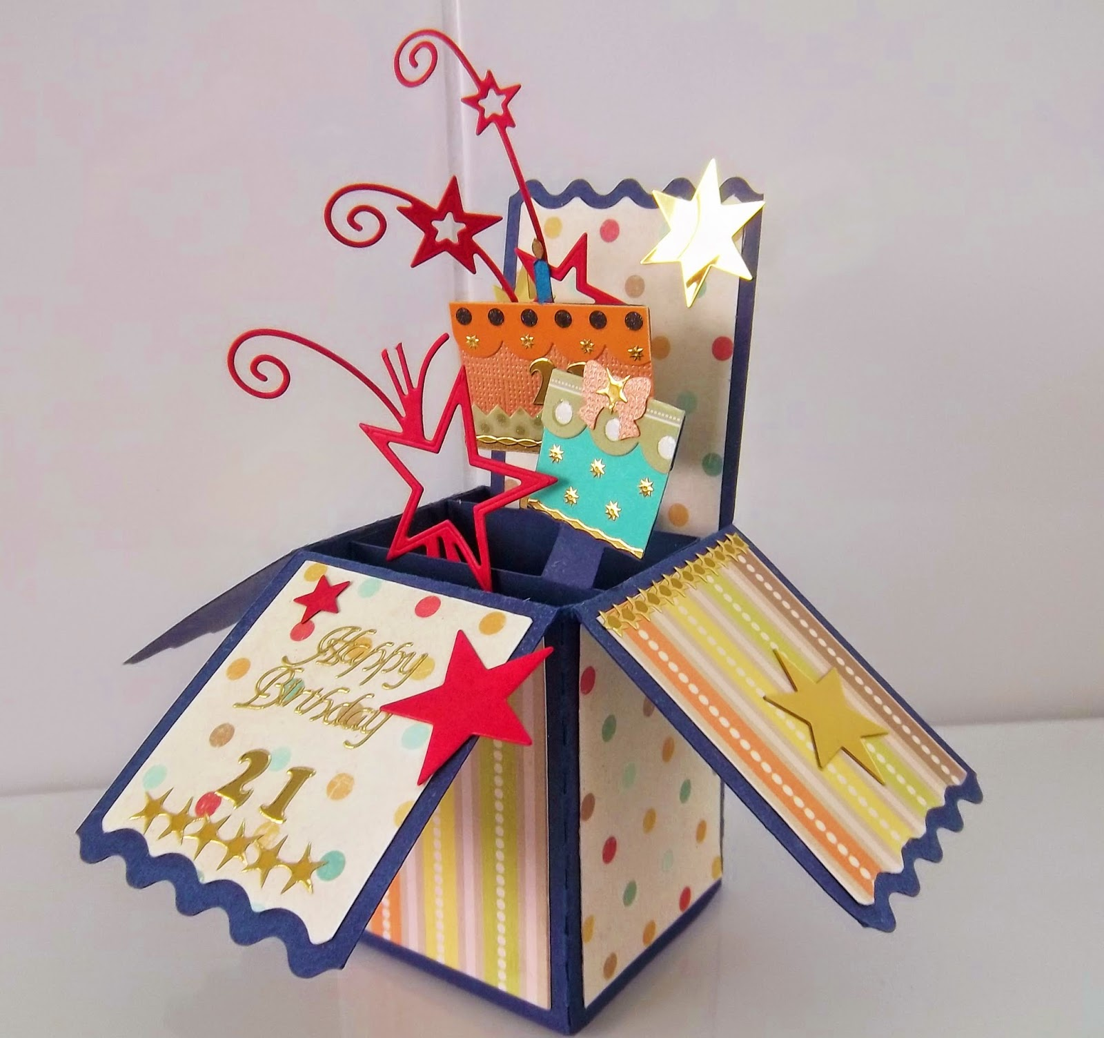"cute critter cards pop up box card ""21st Birthday """