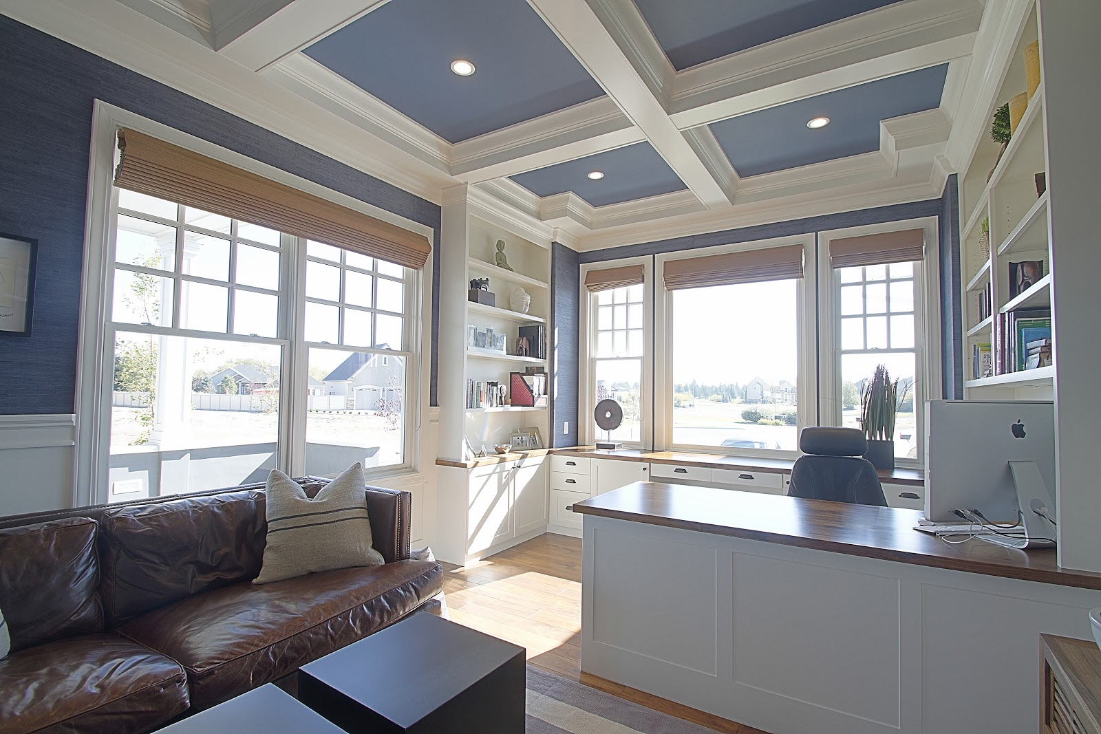 Bdg style idaho project office for Coffered ceiling paint ideas