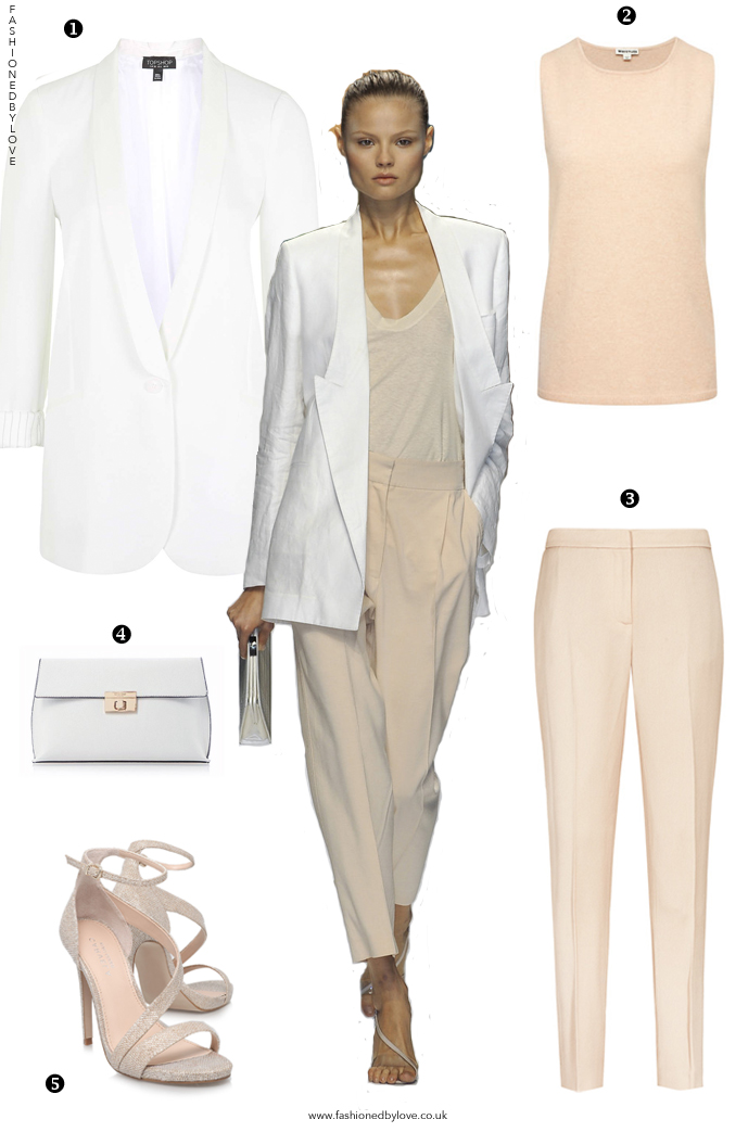 Stella McCartney Spring/Summer 2009 / designer look for less / how to wear nude hues / how to style white blazer / outfit inspiration / summer in the city outfit inspiration / via fashioned by love / british fashion blog
