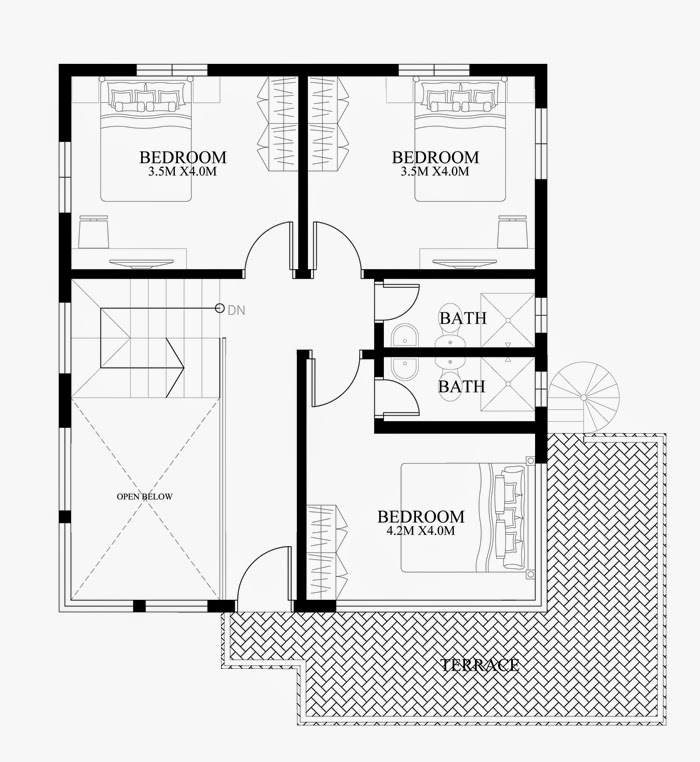 Modern duplex house designs elvations plans for Contemporary duplex plans