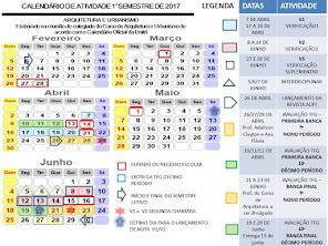 CALENDÁRIO ARQUITETUTRA E URBANISMO - AVALIAÇÕES E PROGRAMAÇÃO