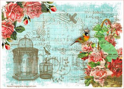 fondo vintage con rosas, pájaros y jaulas