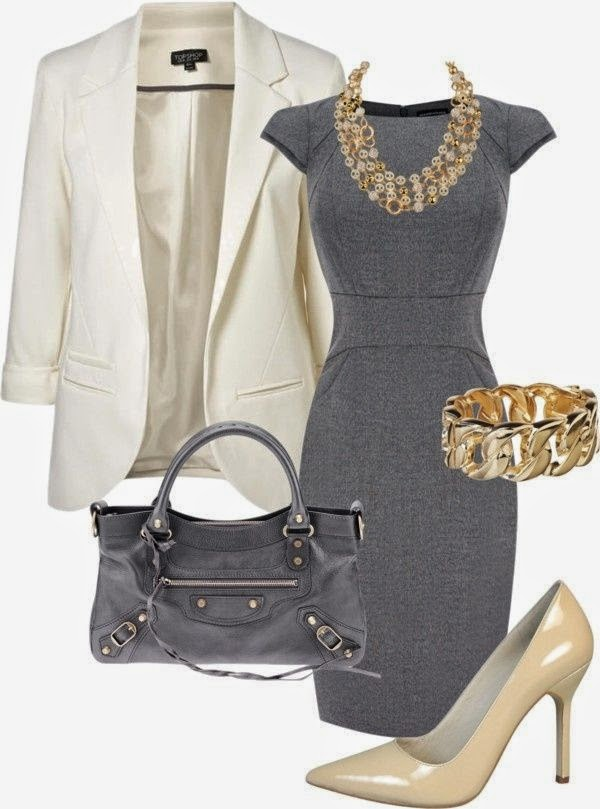 Gray classic work dress. #business attire. #womens fashion That is such an ugly purse though  See more http://worldcutefashion.blogspot.com/