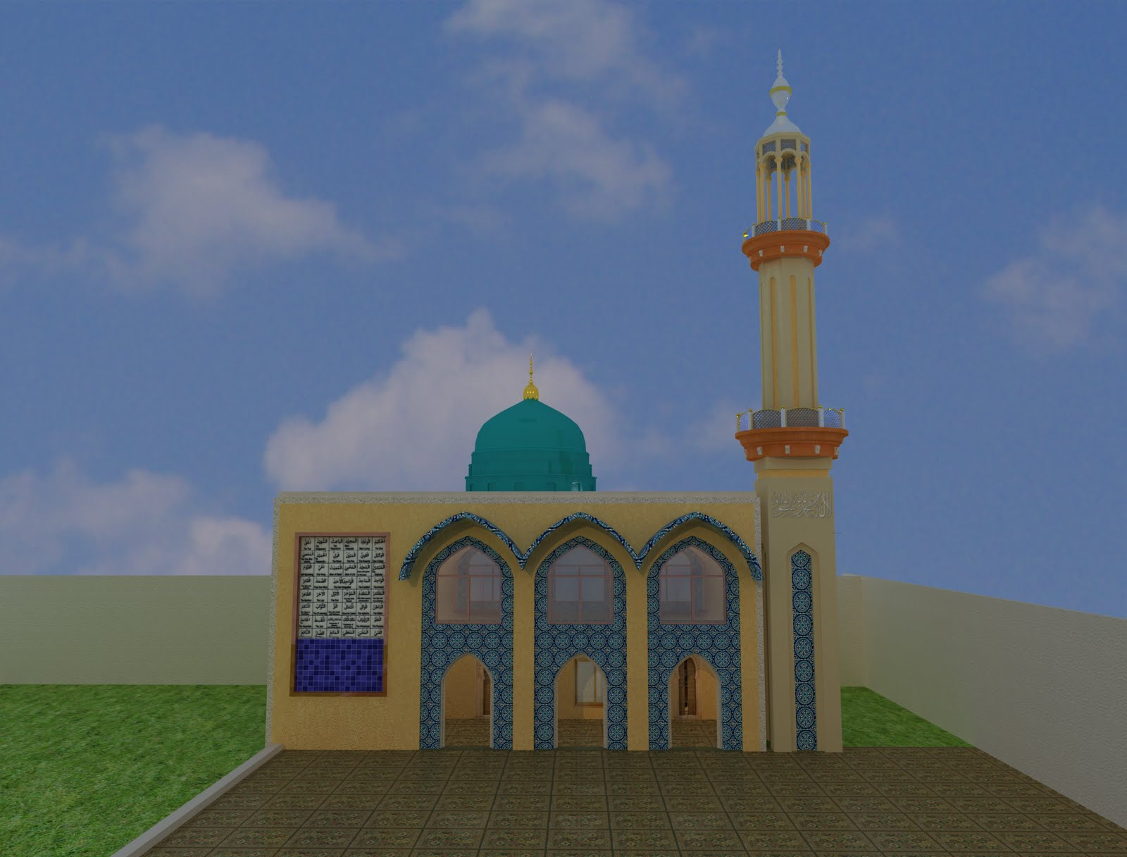 King2011 design for ceiling - Mosque And School Design 3d