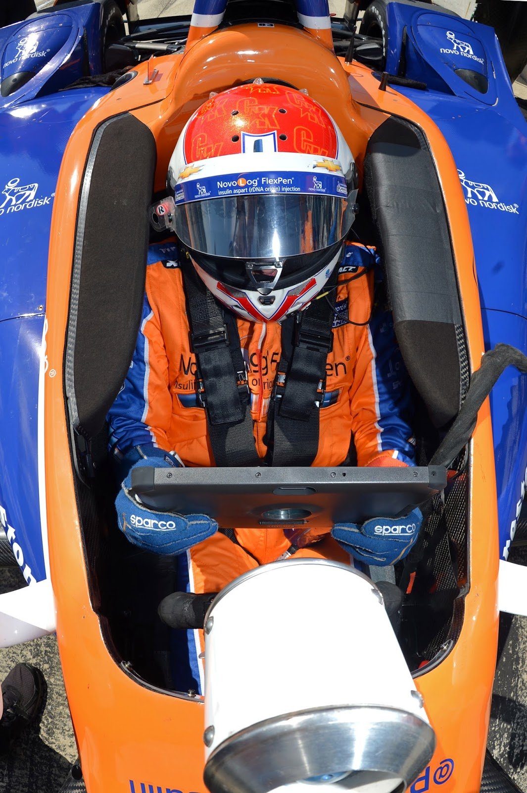 Charlie Kimball is strapped into his Novo Nordisk Chip Ganassi Racing Chevrolet on pit lane during Tuesday's Open Test sessions at Barber Motorsports Park