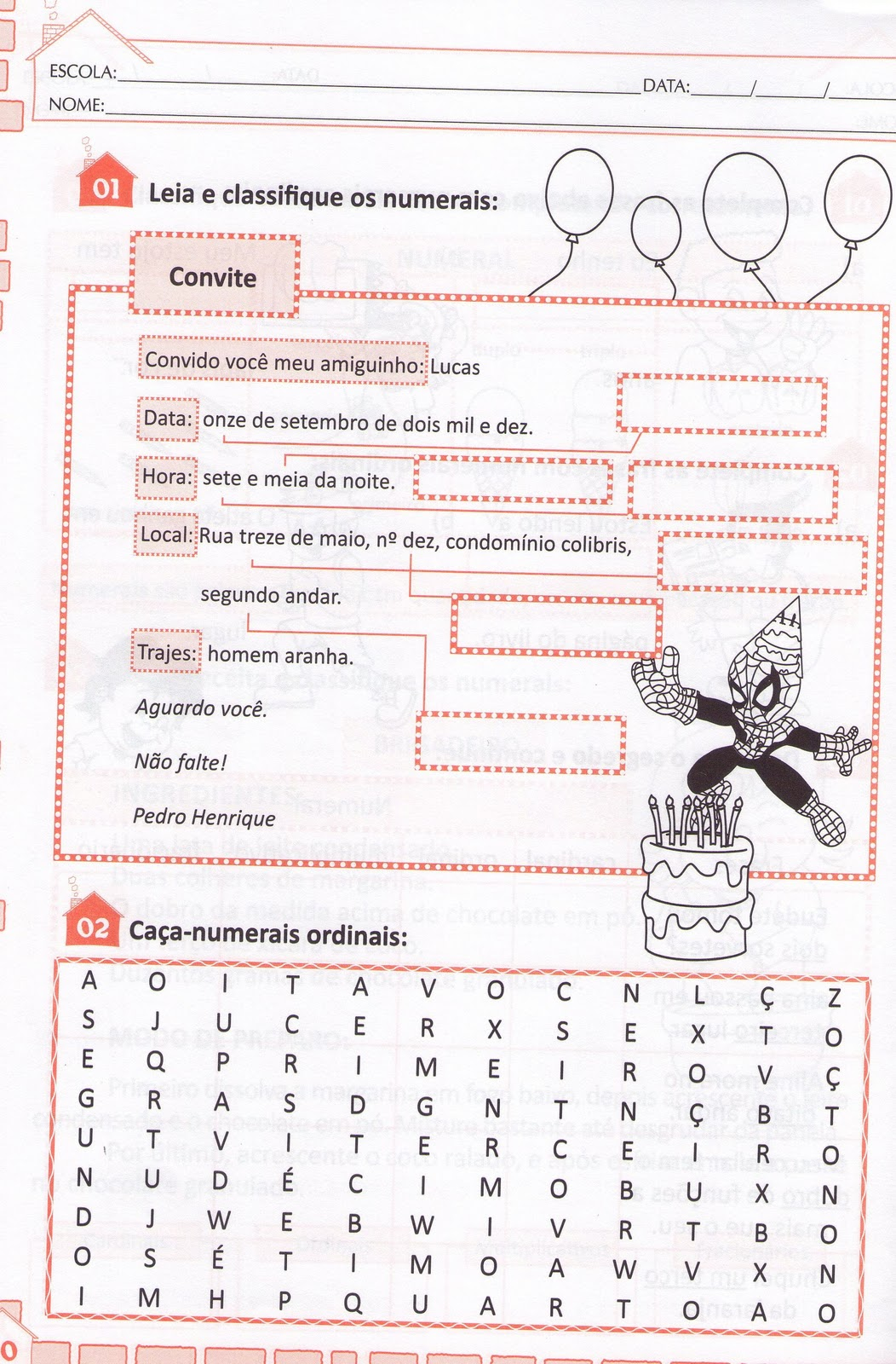 Excepcional Blog Professor Zezinho : Números Cardinais,ordinais  JJ72