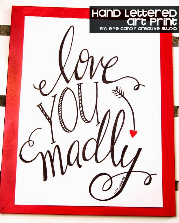 valentine gift idea, hand lettering, hand lettered art print, love you
