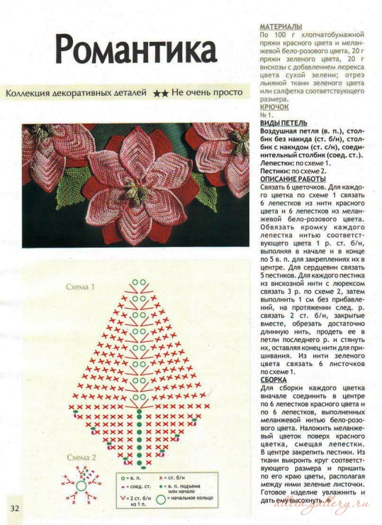 Объёмный цветок вязание крючком схема и описание