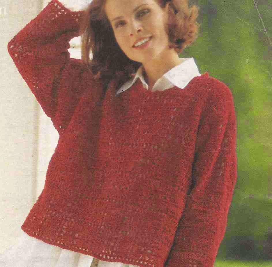 Suéter o Jersey de Cuadros Rojos a Crochet o Ganchillo