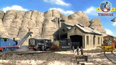Blue mountain ghostly quarry mining wooden shack Percy Diesel Thomas the tank engine and Mavis train