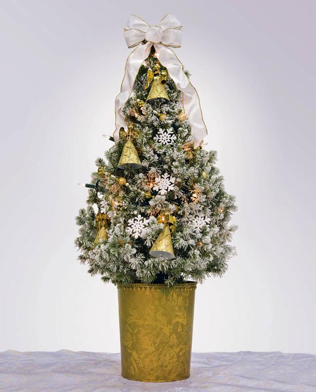 arbol de navidad pequeño y elegantes- decorado amarillo y blanco