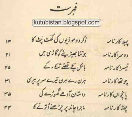 Contents of the Urdu Book Karnamay Tees Markhan Kay
