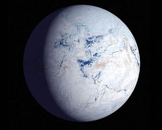 Ilustración artística de un hipotético planeta frío, cubierto por el hielo