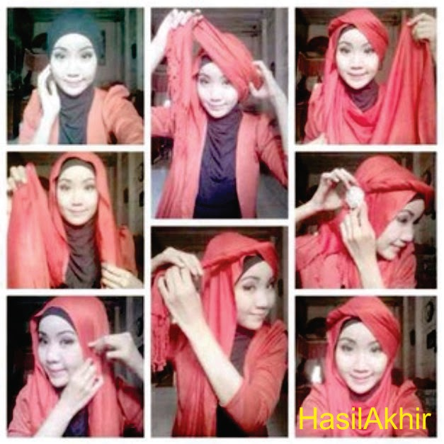 Model Hijab Pashmina segi empat terbaru
