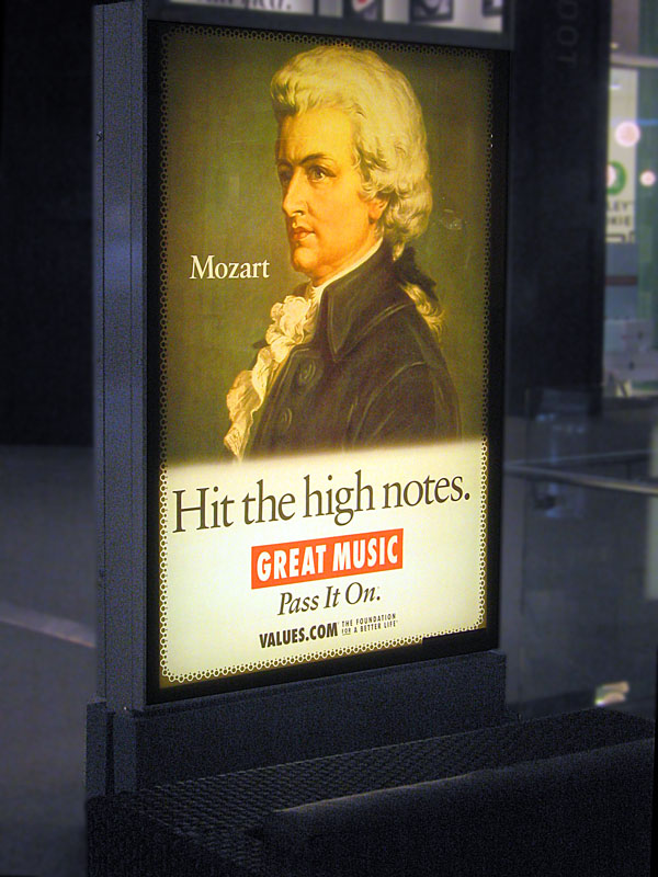Musical Terms in the Marketplace - Mozart sells values.com at the Mall