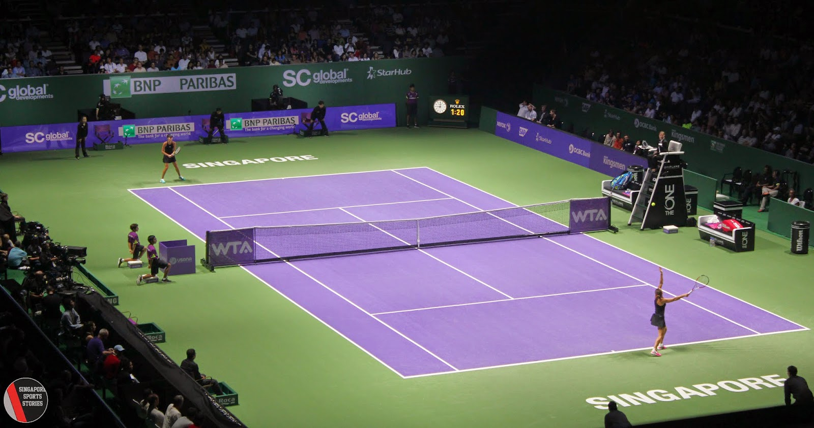 WTA Finals Singapore, Simona Halep serving against Ana Ivanovic - Tennis