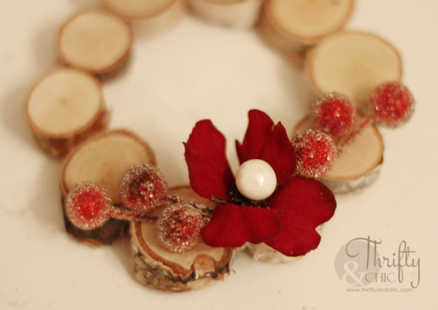 Mini Woodland Wreath Ornament made from birch discs