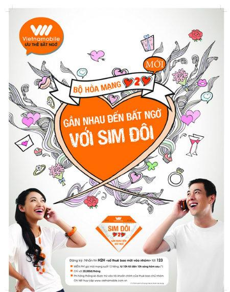 Hòa mạng sim đôi H2H Vietnamobile gọi nội mạng 24h
