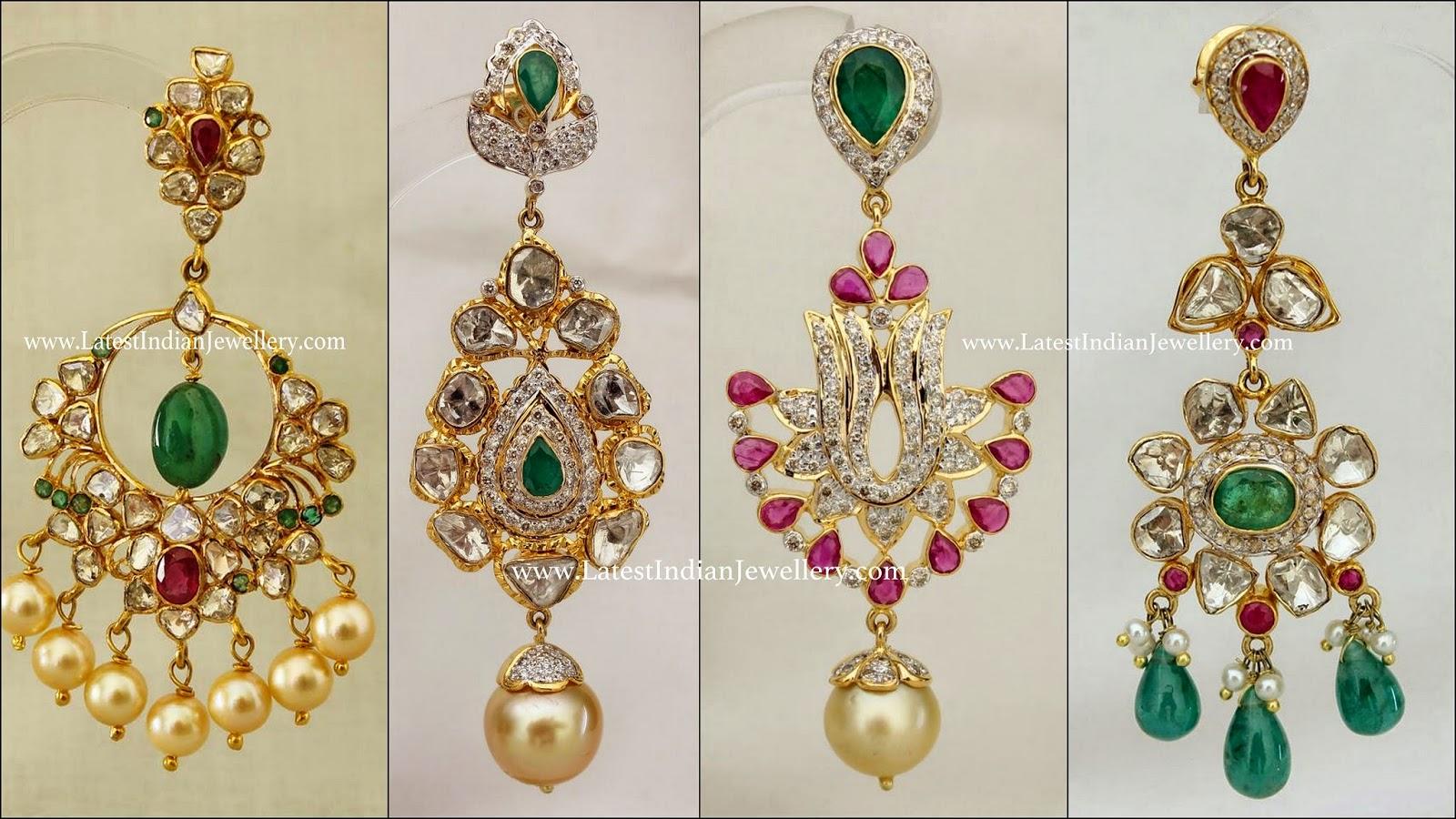 Designer Polki Diamond Earrings