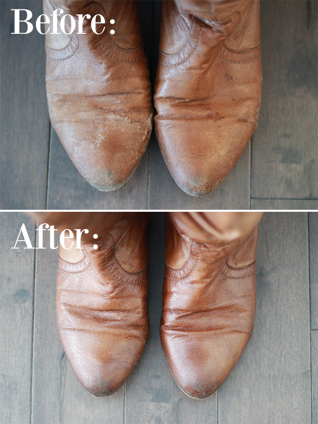 How to remove salt stains from winter boots.  A DIY guide from Pretty Little Details.