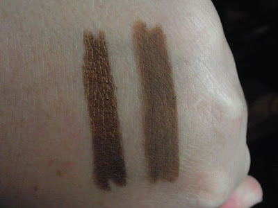 Swatches of Milani Shadow Eyes Brown Deluxe and Cafe Au Lait
