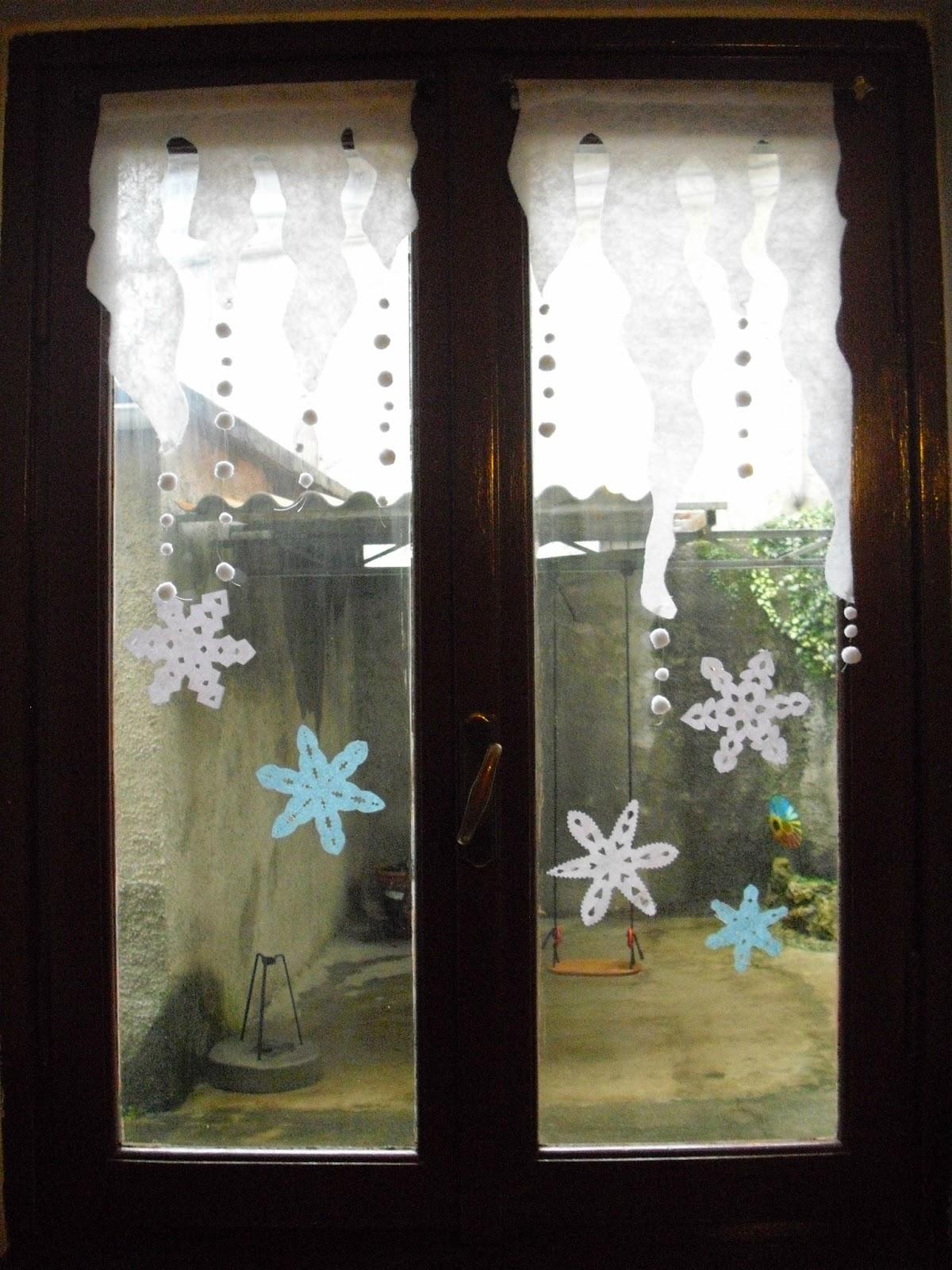 Piccole polpette crescono finestre innevate - Decorare i vetri delle finestre ...