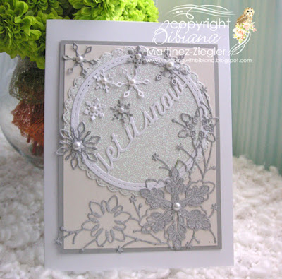 white winter card with memory box dies  front view