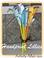 Handprint Lillies Mothers Day Craft