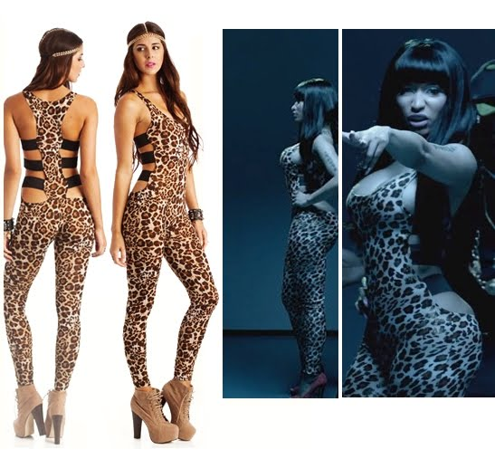 nicki minaj leapord catsuit sexy tight stilettos shoes match