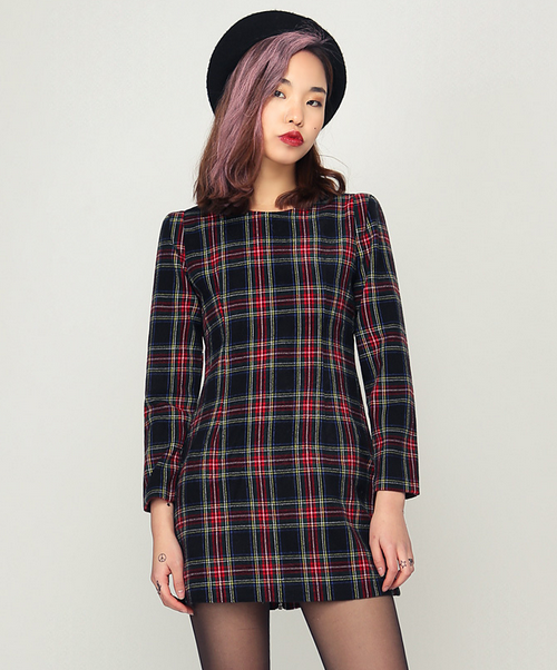 British Tartan Preppy Dress