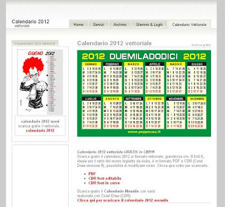 Calendario 2012 per Illustrator e Corel Draw