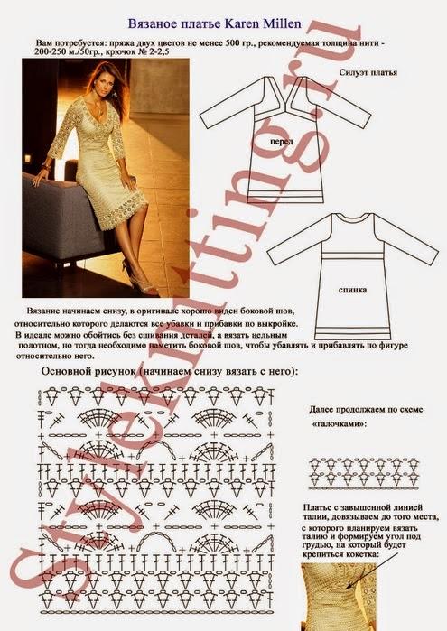 Связать платье спицами и схемы