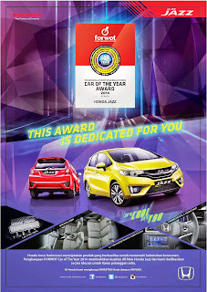 Honda Jazz Sabet Car of the Year 2014