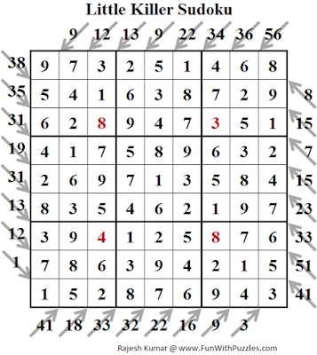 Little Killer Sudoku (Daily Sudoku League #144) Solution