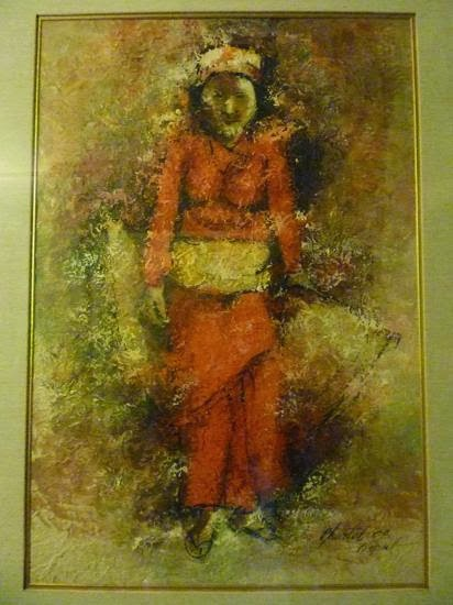 Nepali women in her celebration clothe (acrylic painting)