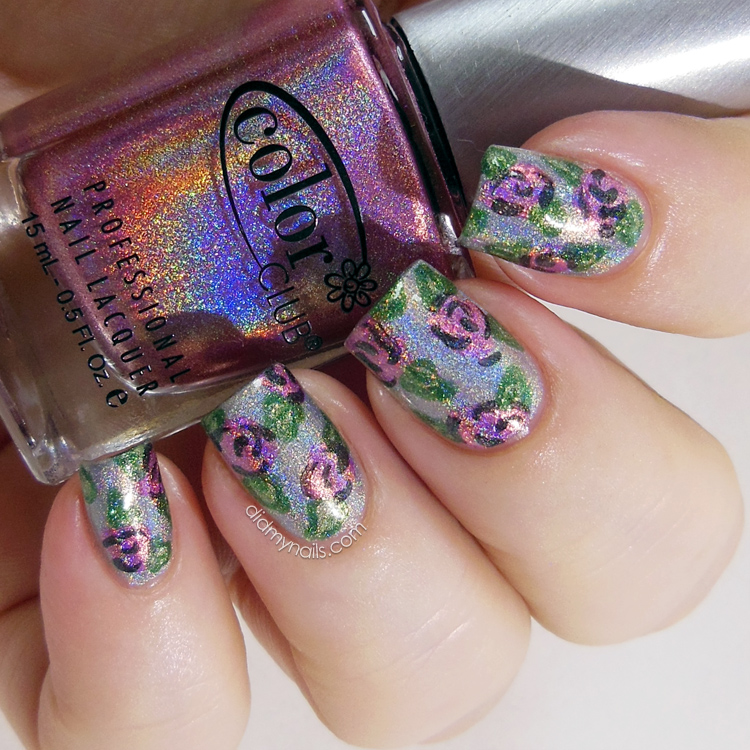 holographic nail art flowers