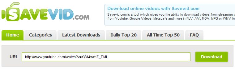 Paste the copied video URL to Savevid download bar and click Download