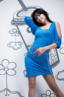 Seo You Jin Korean Sexy Model hot blue mini robe 10