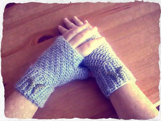 MITONES o guantes con punto trenza a CROCHET