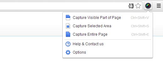 AjudaOps! Opções de captura da extensão Awesome Screenshot