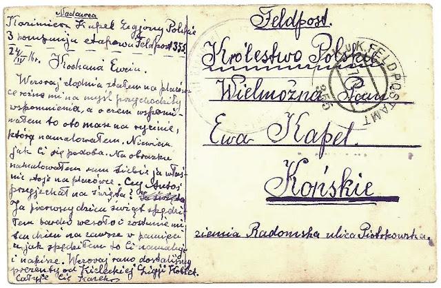 Pocztówka, strona tekstowa, wysłana przez Kazimierza Kapla do siostry w Końskich. Korespondencja z 1916 roku. Stempel nr 355 poczty polowej Legionów. Ze zbiorów Edwarda Tylmana
