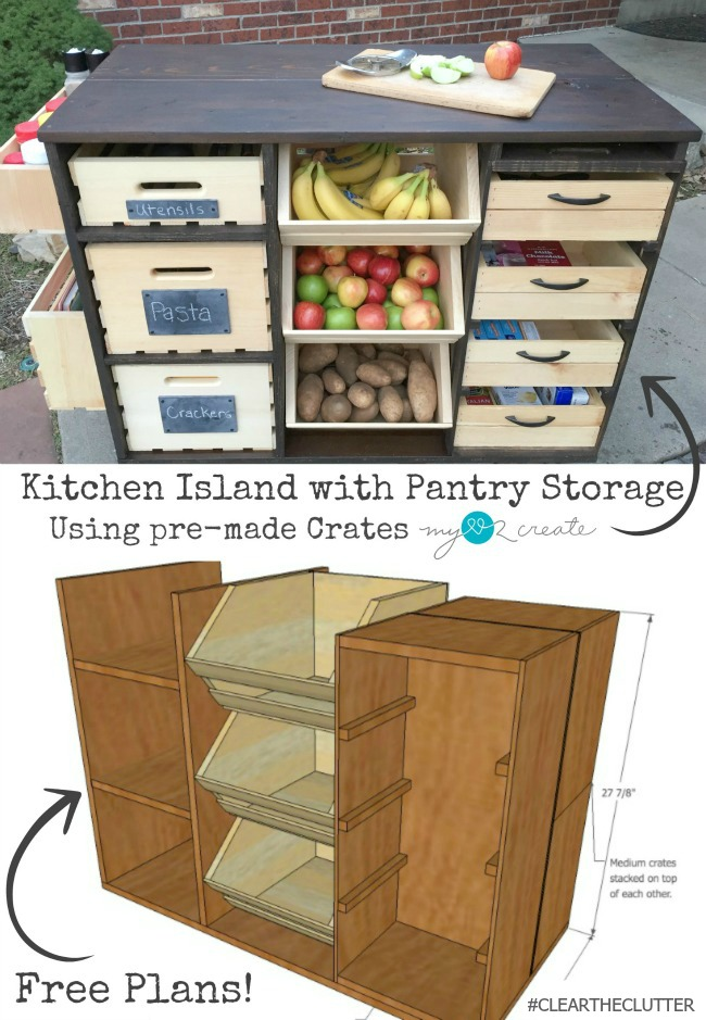 Build An Awesome Kitchen Island With Pantry Storage With Crates And Pallet  Crates! Free Plans