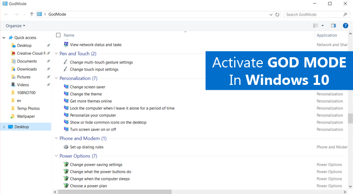 How to Activate GodMode in Windows 10