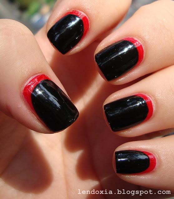 crno crvena ruffian manikura