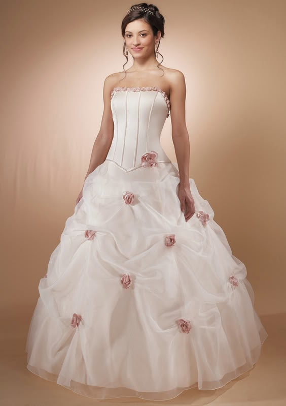White Wedding Dress With Red Roses 96 Elegant The single rose adds
