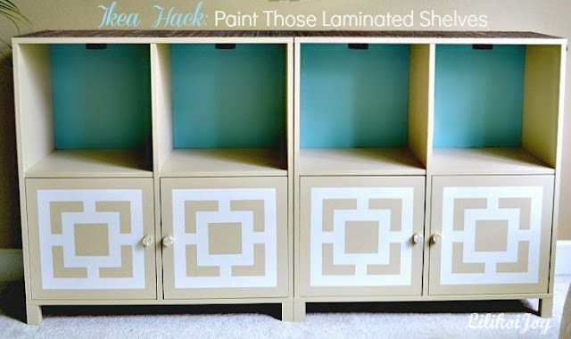 ikea hack painted laminate shelving