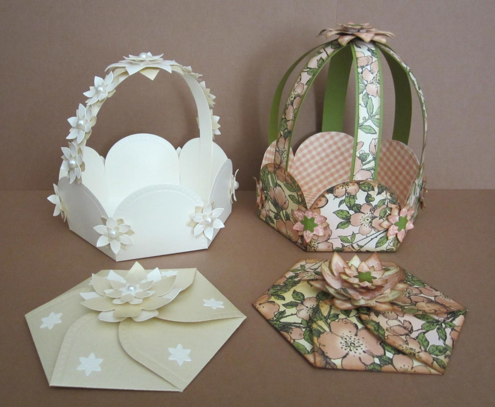 designs by marisa  hexagon petal envelope and basket ensemble