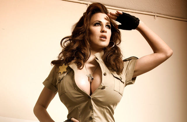 Model Jordan Carver in Beautiful Sheriff Woman Model Photo Shoot Session