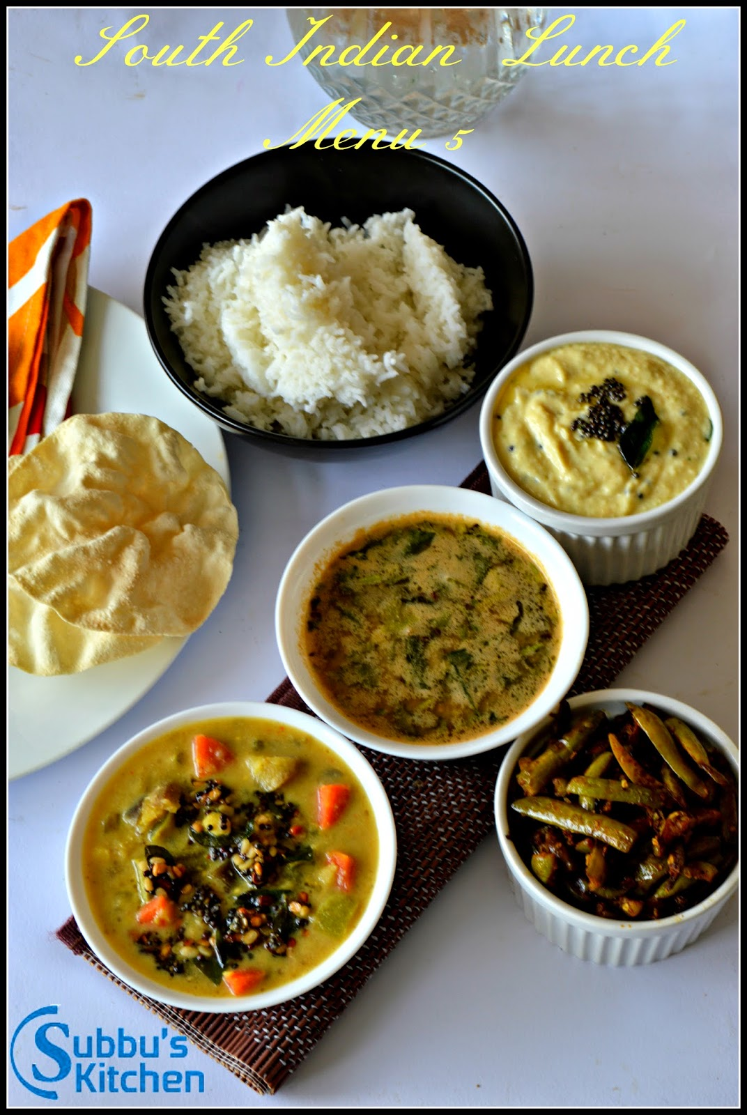 South Indian Lunch Menu 5 - Poricha Kuzhambu, Senai Thayir Pachadi, Kovakaai Fry, Mysore Rasam